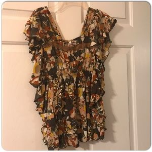 Tops - Floral Print Ruffle Blouse